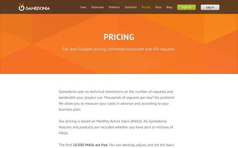Screenshot of Pricing Page gamedonia.com - Pricing | Gamedonia - captured July 19, 2015
