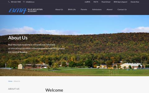Screenshot of About Page bma.us - About Us | Blue Mountain Academy - captured Dec. 4, 2015