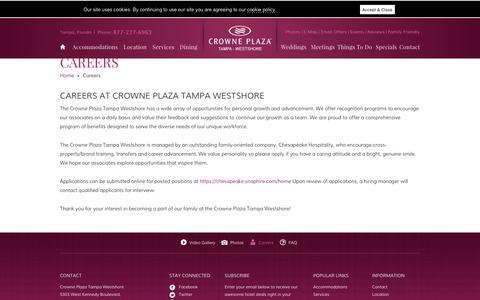 Screenshot of Jobs Page cptampawestshore.com - Tampa, FL Hotel Jobs - Crowne Plaza Tampa Westshore - captured Sept. 30, 2018