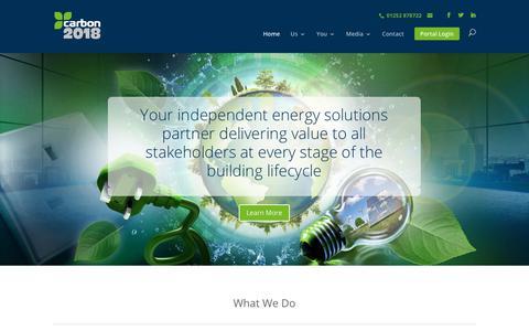 Screenshot of Home Page carbon2018.com - Carbon2018 - Expert energy management consultants - captured Sept. 25, 2018