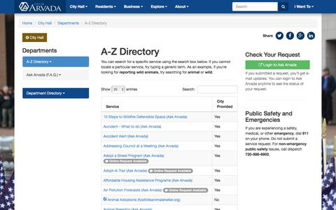 Screenshot of Services Page arvada.org - A-Z Directory - City of Arvada - captured Jan. 18, 2018