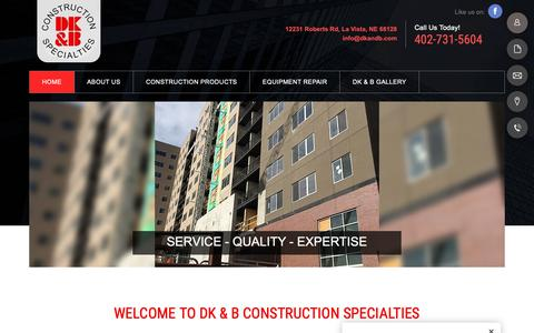 Screenshot of Home Page dkandb.com - Construction Equipment | LaVista, NE | DK & B Construction Specialties - captured Oct. 7, 2018