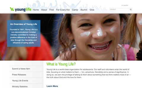 Screenshot of Press Page younglife.org - What is Young Life? - captured Nov. 28, 2016