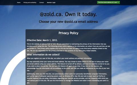 Screenshot of Privacy Page zold.ca - @zold.ca. Own it today. - captured Oct. 7, 2014