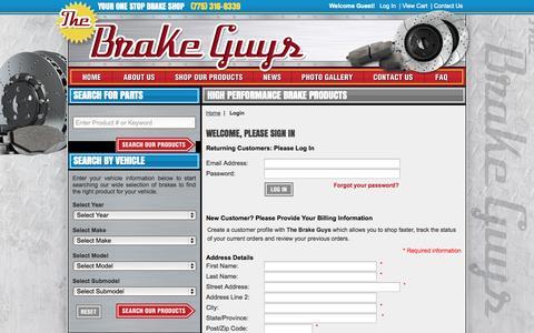 Screenshot of Login Page thebrakeguys.com - Login : Power Stop Brakes, Rotors & Brake Pads, - The Brake Guys Brake Pads - captured Oct. 6, 2014