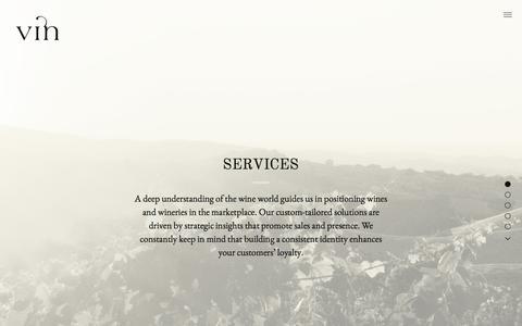 Screenshot of Services Page vinagency.com - Services | Vin – Fine Design & Communication for the Wine World - captured Feb. 17, 2016