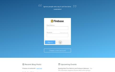 Screenshot of Login Page firebase.com - Login - Firebase - captured Sept. 16, 2014