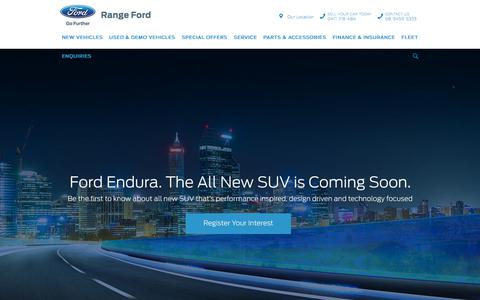 Screenshot of Home Page rangeford.com.au - Range Ford - Ford Dealer Perth, WA - captured Sept. 21, 2018