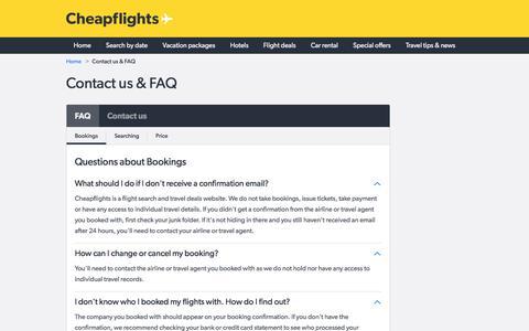 Screenshot of Contact Page cheapflights.com - Cheapflights.com - Contact Us & FAQ's - captured May 16, 2017