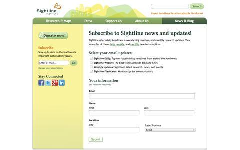 Screenshot of Signup Page sightline.org - Signup | Sightline Institute - captured Sept. 24, 2014