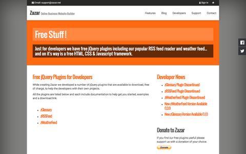 Screenshot of Developers Page zazar.net - Free Stuff ! - Zazar, Online Business Website Builder - captured Nov. 25, 2016