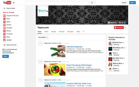Screenshot of YouTube Page youtube.com - Yapaa.com  - YouTube - captured Oct. 23, 2014