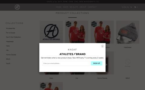Screenshot of Products Page athletesbrand.com - Collections - Athletes Brand - captured May 31, 2017