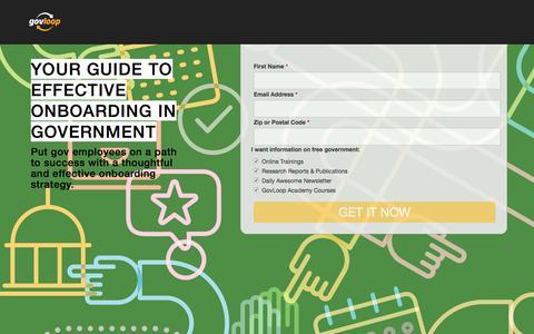 Screenshot of Landing Page govloop.com - Effective Gov Onboarding | GovLoop - captured May 5, 2017