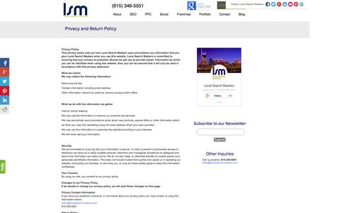 Screenshot of Privacy Page localsearchmasters.com - Privacy and Return Policy | Local Search Masters - captured Oct. 3, 2014