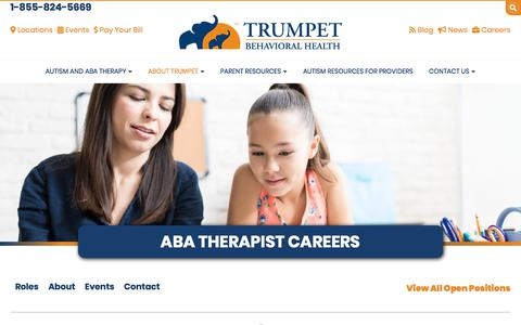 Screenshot of Jobs Page tbh.com - ABA Therapist Jobs | Trumpet Behavioral Health - captured Aug. 25, 2019