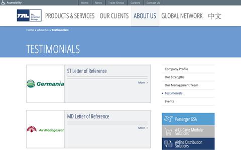 Screenshot of Testimonials Page talaviation.com - Testimonials | About Us | TAL Aviation - captured Oct. 18, 2018