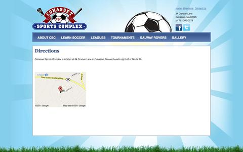 Screenshot of Maps & Directions Page cohassetsportscomplex.com - Directions | Cohasset Sports Complex - captured Sept. 30, 2014