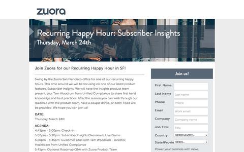 Screenshot of Landing Page zuora.com - Recurring Happy Hour   Zuora - captured March 26, 2016