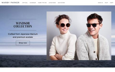 Screenshot of Home Page warbyparker.com captured Dec. 11, 2015
