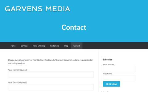 Screenshot of Contact Page garvensmedia.com - Contact | Garvens Media - captured Sept. 29, 2014