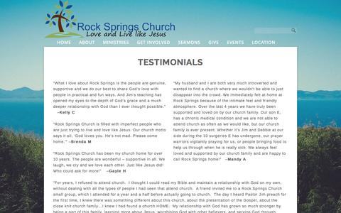 Screenshot of Testimonials Page rockspringschurch.com - TESTIMONIALS «  Rock Springs Church - captured Feb. 27, 2016