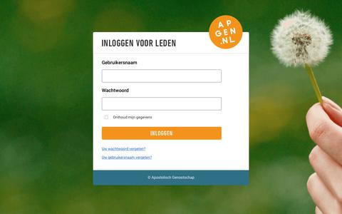 Screenshot of Login Page apgen.nl - Inloggen voor leden - captured Nov. 10, 2018