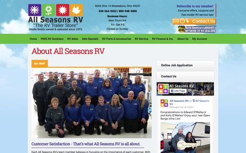Screenshot of About Page asrvs.com - About All Seasons RV in Streetsboro Ohio - Your RV Dealer | All Seasons RV Streetsboro Ohio RV Dealer - captured Feb. 5, 2016