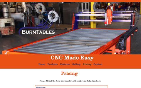 Screenshot of Pricing Page burntables.com - BurnTables | Pricing - captured Nov. 6, 2018