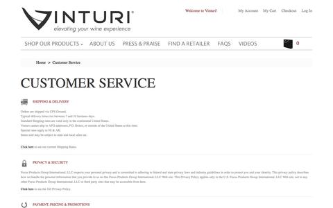 Screenshot of Support Page vinturi.com - Customer Service - captured Dec. 13, 2016