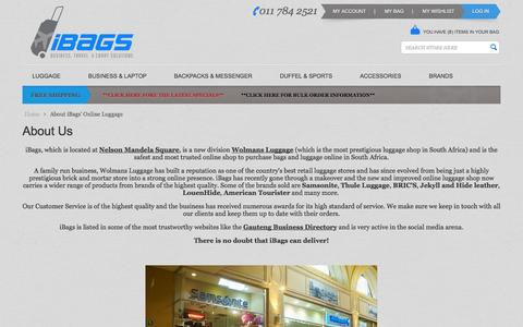 Screenshot of About Page ibags.co.za - About iBags' Online Luggage  | South Africa - captured Sept. 24, 2014
