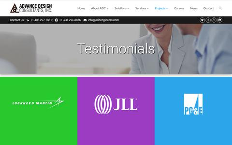 Screenshot of Testimonials Page adcengineers.com - Testimonials - Advanced Design Consultants - captured Oct. 3, 2018