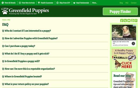 Screenshot of FAQ Page greenfieldpuppies.com - Frequently Asked Questions   Greenfield Puppies - captured May 25, 2017