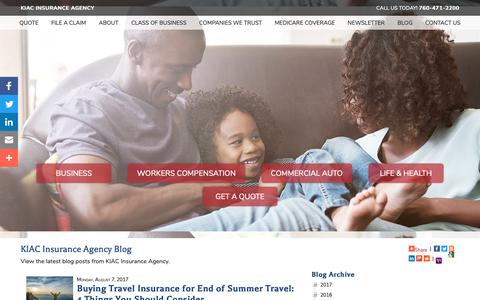 Screenshot of Blog kipperinsurance.com - KIAC Insurance Agency Blog - captured Dec. 20, 2018