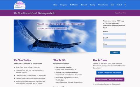 Screenshot of Home Page lifepurposeinstitute.com - Life Coach Certification - captured Sept. 30, 2014