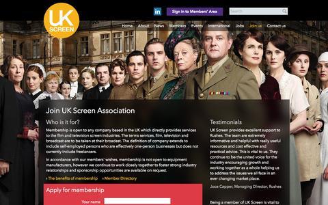 Screenshot of Signup Page ukscreenassociation.co.uk - Join us | UK Screen Association - captured Sept. 30, 2014
