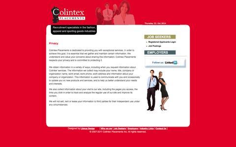 Screenshot of Privacy Page colintex.com - Colintex Placements - captured Oct. 23, 2014