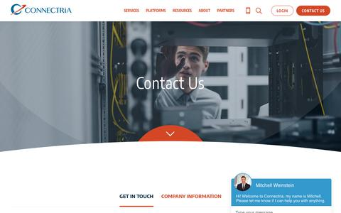 Screenshot of Contact Page connectria.com - Connectria | HIPAA Hosting, AWS Managed Services, Azure Managed Services, Citrix Hosting, IBM i Hosting - captured April 1, 2019