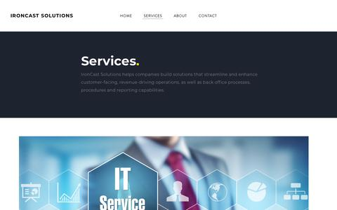 Screenshot of Services Page ironcastsolutions.com - Services - IRONCAST SOLUTIONS - captured Sept. 20, 2018