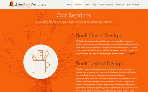 Screenshot of Services Page bookdesigners.com - Services | theBookDesigners - captured Oct. 7, 2014
