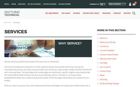 Screenshot of Services Page skiequipmentuk.co.uk - Servicing - Anything Technical - captured Oct. 8, 2017