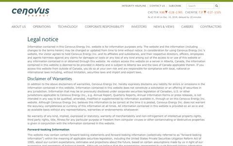 Screenshot of Terms Page cenovus.com - Read Cenovus's legal disclaimer regarding content on the web site - captured Dec. 10, 2018