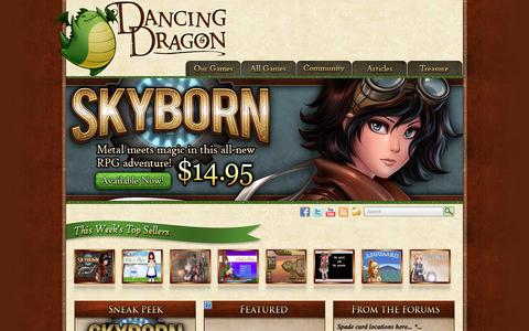 Screenshot of Home Page dancingdragongames.com - dancingdragongames.com - captured Sept. 30, 2014