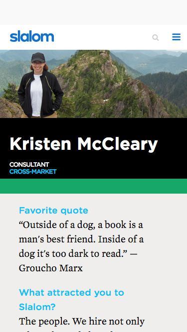 Screenshot of Team Page  slalom.com - Kristen McCleary | Slalom