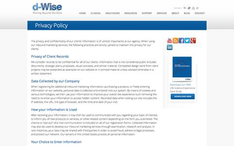Screenshot of Privacy Page d-wise.com - Privacy Policy | d-Wise.com - captured Oct. 10, 2014