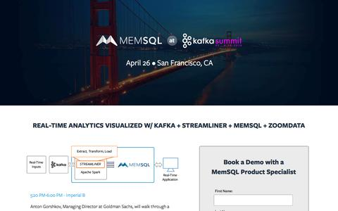 Screenshot of Landing Page memsql.com - MemSQL @ Kafka Summit - captured June 22, 2016