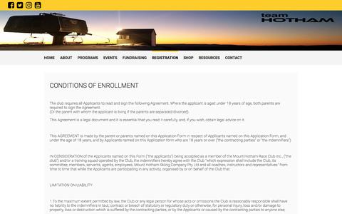 Screenshot of Terms Page mhrs.org.au - Terms of Registration - Mount Hotham Racing Squad - captured Oct. 21, 2017