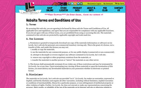 Screenshot of Terms Page lizlovely.com - Terms of Use | Liz Lovely Gluten Free & Vegan Cookies Shop - captured Oct. 3, 2014