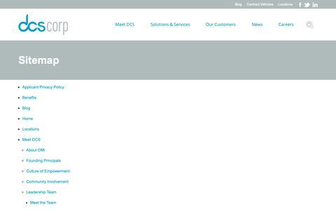 Screenshot of Site Map Page dcscorp.com - Sitemap   DCS Corp - captured Nov. 6, 2018