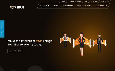 Screenshot of Developers Page iamibot.com - Make Your Internet Of Things Devices - iBot - captured Oct. 13, 2018
